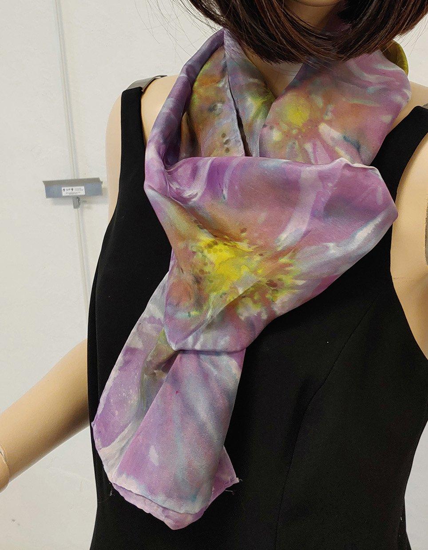 shibori scarf purple cropped